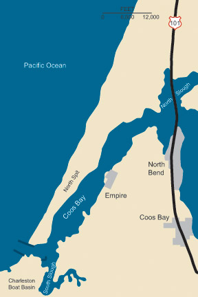 Graphic illustration map of Coos Bay