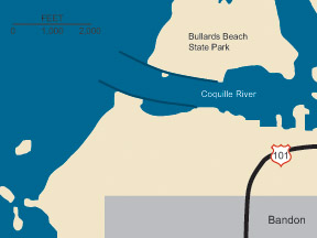 Graphic illustration map of Coquille River