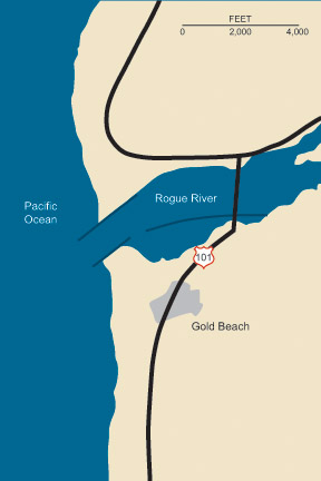 Graphic illustration map of Rogue River at Gold Beach