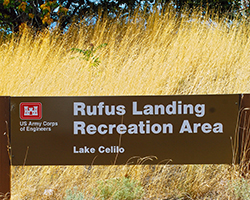 The Rufus Landing Recreation Area sign welcomes visitors to Lake Celilo