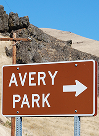 The Avery Park sign welcomes visitors to the site.