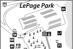 Small version of Lepage Park amenities map; links to larger version