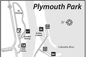 Small version of Plymouth Park's site amenities map; links to larger version