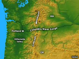 Color relief map of the Columbia River Gorge and surrounding area