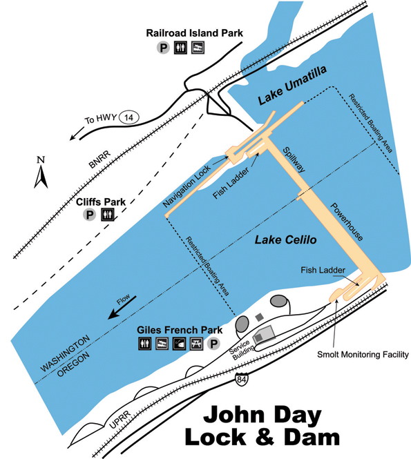 portland district > locations > columbia river > john day john day map