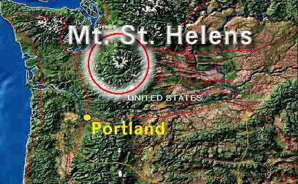 topographical map of Oregon and Washington, showing relative position of Mount St. Helens to Portland