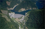 aerial photo of Blue River Dam