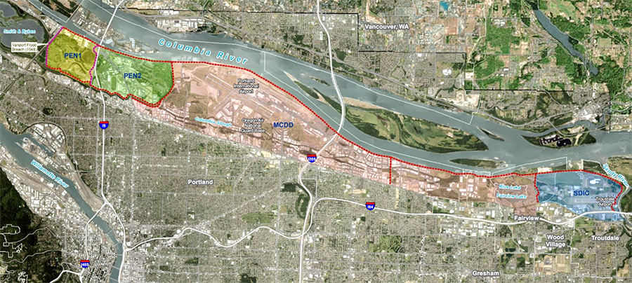 PMLS feasibility study area along the Columbia River