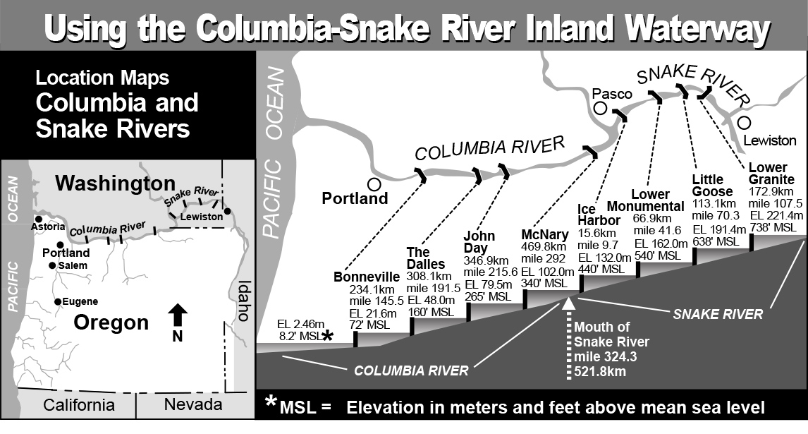 Location map: Columbia and Snake Rivers