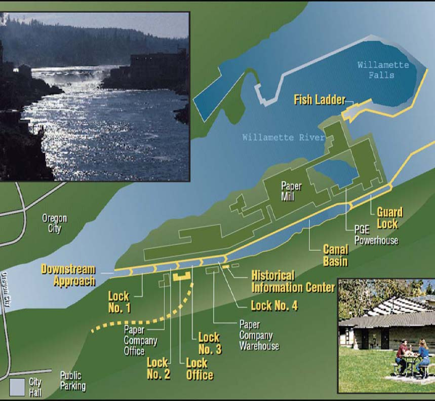 Willamette Falls Locks area map