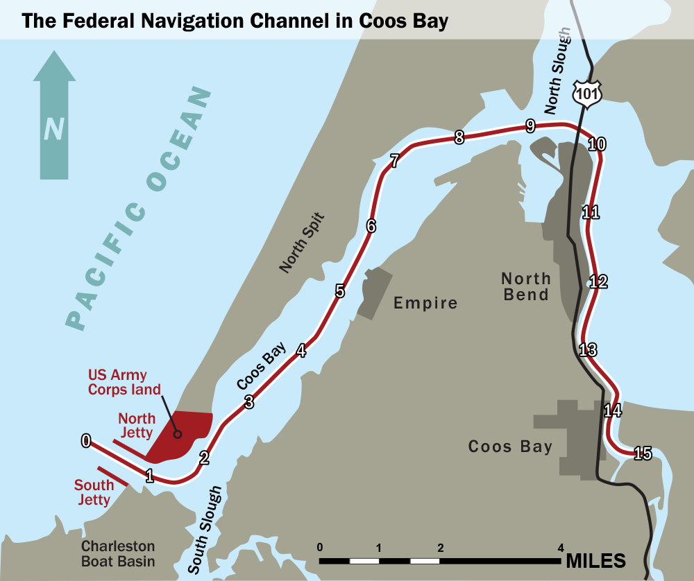 Coos Bay proposed channel modification map