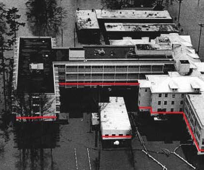 Picture of the Salem Hospital in Oregon from the 1964 Flood