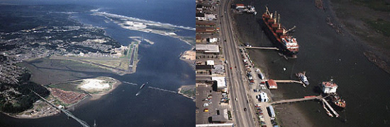 2 aerial images of Coos Bay