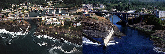 2 aerial images of Depoe Bay