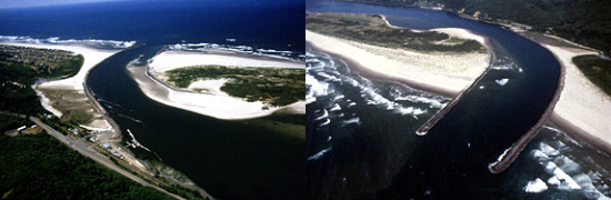 2 aerial images of the Nehalem River Project area