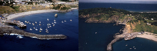 2 aerial images of Port Orford