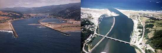 2 aerial images of the Rogue River at Gold Beach area