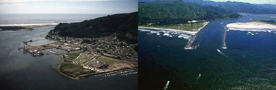 2 aerial images of Tillamook Bay