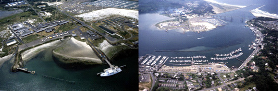 2 aerial images of the Yaquina Bay area