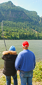 Image of a couple trying their luck fishing at the North Shore Recreation Area.
