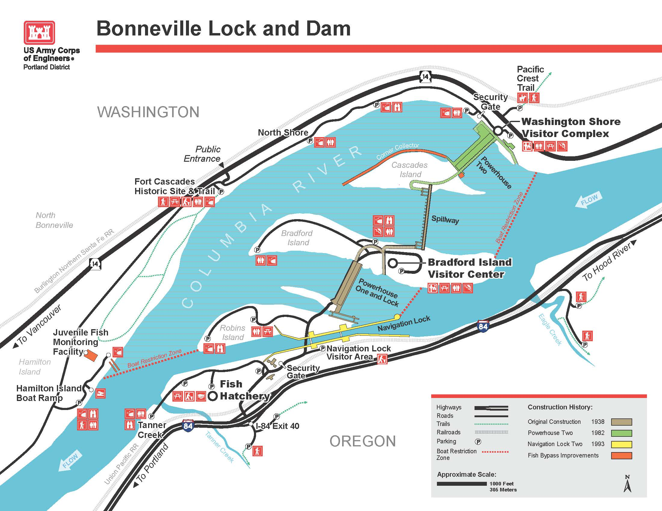 Portland District Locations Columbia River Bonneville Lock & Dam