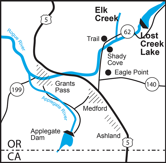 Map showing Rogue River Basin locations