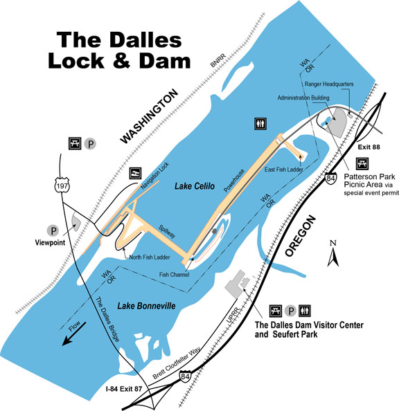 Map of The Dalles Dam and nearby amenities and facilities