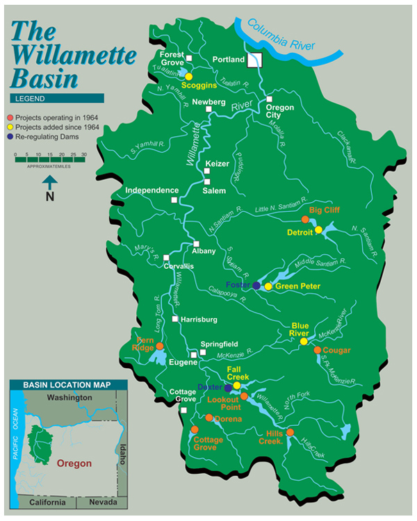 Map of the Willamette Valley Project