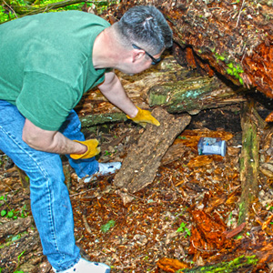 A man bends over to discover his geocache find
